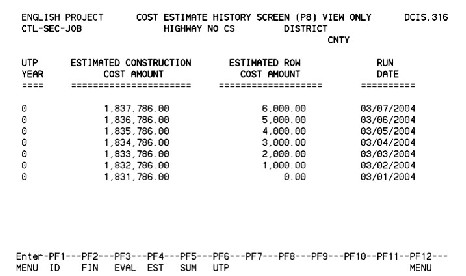 Dcis user manual cost estimate history screen for Online construction cost estimator